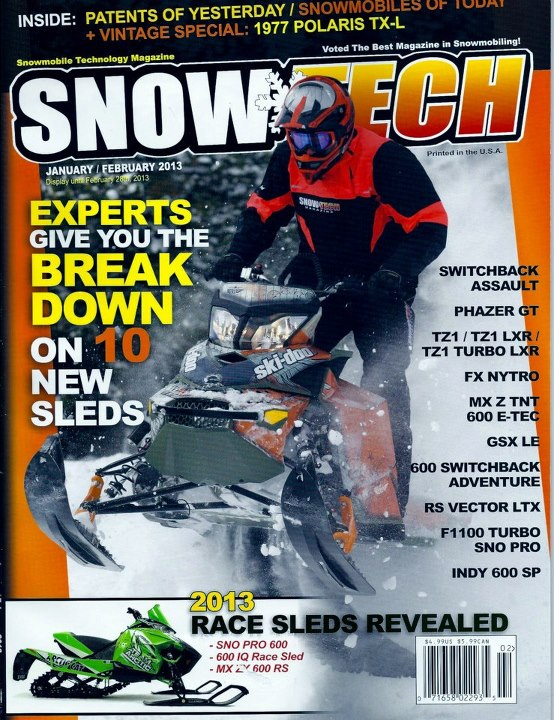 Snowmobile SnowTech Jan-Feb 2013.  2013 Freeride