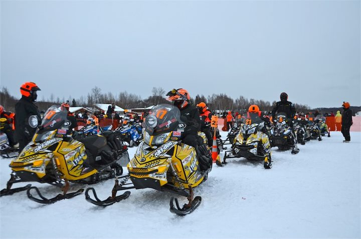 Snowmobile An armada of Iron Dog racers at the start