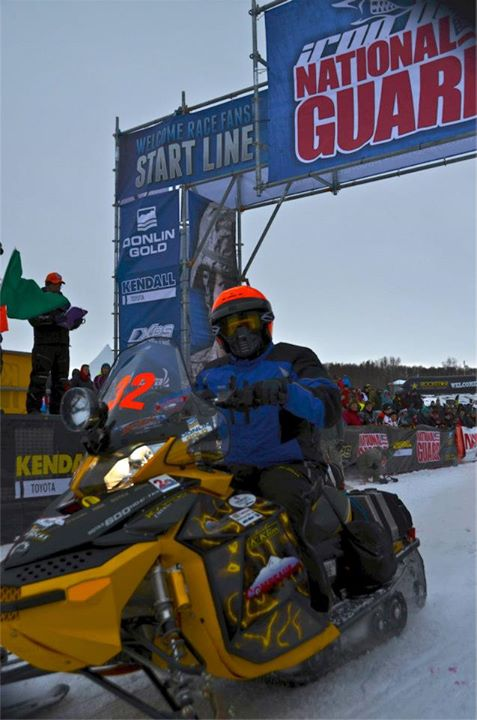 Snowmobile At the start: Brad Dietrich and Tim Jauhola