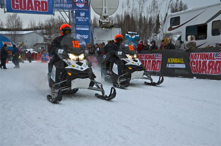 Snowmobile At the start with Chris Collins and Brad Reich