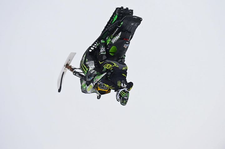 Snowmobile Heath Frisby in practice Thursday