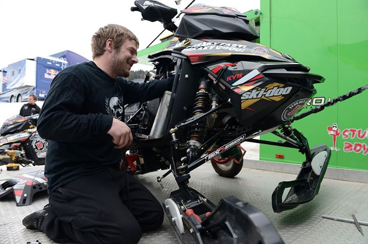 Snowmobile Working hard to get the Jimmy John's sleds ready for snocross.