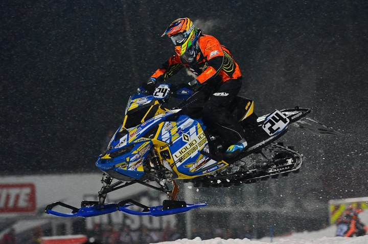 Snowmobile Paul Bauerly at Saturday night practice.
