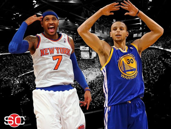 Sports LIVE VOTE COMING UP! More likely to lead their team to a win tonight: Carmelo Anthony or Steph Curry?