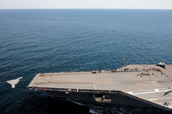 Guns and Military Today, your Navy made history when the first unmanned aircraft launched from an aircraft carrier. 