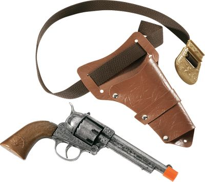 Outfit your little cowboy with cap guns fashioned after the Wild West originals. This cap gun is constructed of die-cast metal with an antique finish and high-quality plastic that looks just like real wood. It has a safety-enhancing full orange tip that's required by federal law. The Big Tex Revolver shoots 12-shot ring caps and comes with its own authentically styled holster and belt. Made in Italy. For Ages 5+. - $16.88