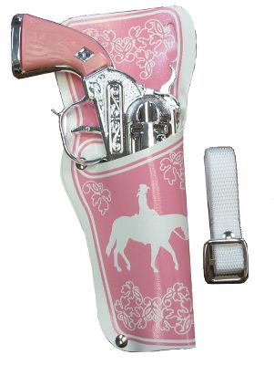 Exciting, old-fashioned gun-slinging fun for young cowgirls! The 8.5-long die-cast-metal repeating pistols fire standard No. 912 paper roll caps. Pink, embossed-vinyl holsters with adjustable, one-size-fits-all belt.Available: Single, Double. - $9.88
