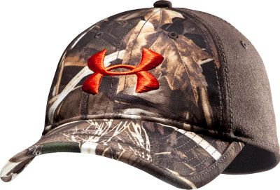Hunting A cool, comfortable cap with an outdoor look. The Under Armour Two-Tone Stretch-Fit Cap has a HeatGear sweatband to wick away moisture. Unstructured cap sports a camo front with bright-orange Under Armour logo and a solid-color back. Stretch fit offers the look of a fitted cap with the versatility of an adjustable one. Made of 96/4 polyester/spandex blend. Imported. Sizes: M/L, L/XL. Camo patterns: Mossy Oak Treestand, Realtree XTRA. Size: L. Color: Realtree Xtra. Gender: Male. Age Group: Adult. Material: Polyester. Type: Caps. - $22.88