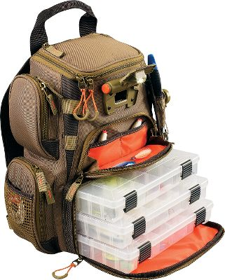 Let Wild River light your way with their lighted tackle backpack featuring a built-in LED light system. This compact tackle bag includes four 3500-series trays, ensuring you have plenty of space for all your lures. Its four side zippered pockets are ideal for all your extra gear, while an integrated transparent pocket keeps maps safe and dry. Top flap unzips to reveal additional storage. Other features include: protective rain cover, mesh pockets, web loops for securing tools, removable steel cable lanyard and plier holder. LED light produces a bright 13 lumens and is powered by two AAA batteries (included). Lightweight at just 3.15 lbs. Imported. Dimensions: 16.5H x 13W x 6.8D. Color: Brown. Color: Brown. - $129.99