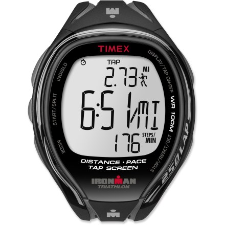 Camp and Hike The Timex Ironman Tap Sleek 250-lap digital watch for men is perfect for training. It lets you access information without breaking your stride, giving you an edge when every second counts. - $49.93