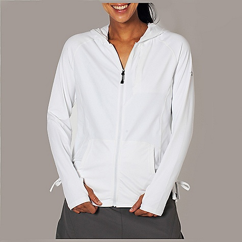 Free Shipping. Ex Officio Women's Sol Cool Hooded Zippy DECENT FEATURES of the Ex Officio Women's Sol Cool Hooded Zippy Icefil fabric uses Xylitol to create a cooling sensation on contact with moisture to lower skin temperature up to five degrees Flattering stitch lines Intelligent moisture control technology provides exceptional wicking Sun Guard 50+, the highest rating available for a garment Flat-locked stitching and tag-less label to prevent irritation Active stretch fabric Odor resistant and antimicrobial Quick drying Lightweight The SPECS Fabric: 91% Polyester/ 9% Spandex Fit Description: Natural - $84.95