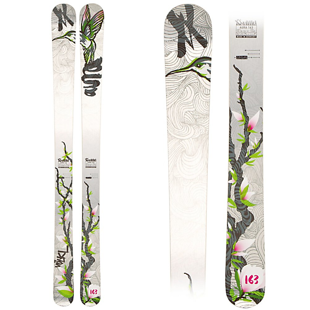 Ski Volkl Aura Womens Skis - The Aura is the ideal everyday ski for aggressive advanced to expert level ladies who ski in regions that get between 150 to 350 inches of annual snowfall. The reason for this is that the Aura is a wide giant slalom race ski that is more than happy to rail carves on groomers between snowfalls but at 96mm underfoot has more than enough flotation for dumps up to 10 inches. Using the same construction you find in Volkl's race skis the Aura uses Power Construction, featuring a internal torsion box that loads and directs power to the full vertical sidewalls which provide the unflinching grip needed to dominate hard packed and groomed snow. Inside the torsion box is a Sensorwood core that gives the huge pop and rebound energy to make the Aura a dynamic turning ski allowing the open 20 meter (at 163cm) radius to both carve giant slalom arcs or flex down and give snappy fall line turns. To control, but not tame, the raw power of the Aura two layers of titanium surround the core to add dampness and vibration absorption to help keep the ski planted to the snow when carving for a stable and strong edge feel. The joy of the Aura is that it treats freshly groomed corduroy just like chopped up runs that haven't seen snow of a groomer in weeks making the time in between big snow falls just as fun as when you get two feet over night. So for all you ladies who avoid trails during storm cycles and shred them when the sun is shining grab an Aura and get to charging. . Tip/Waist/Tail Widths: 131 - $399.95