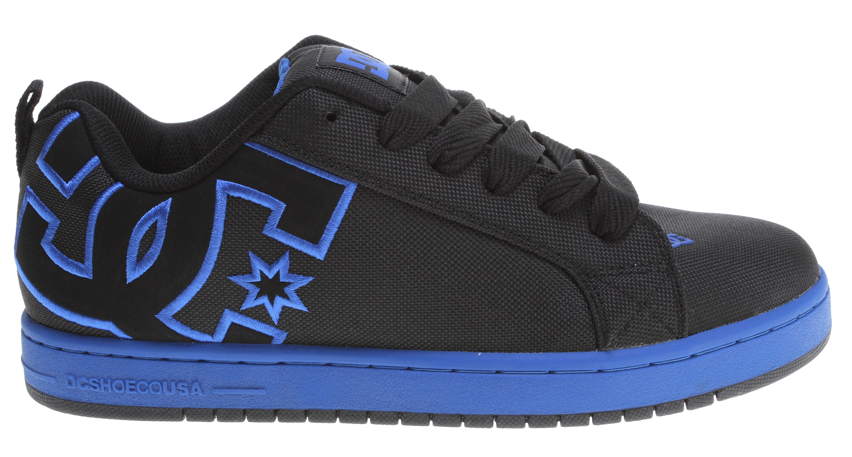 "Skateboard Key Features of the DC Court Graffik Tx Shoes: Large Heel Logo Textile Upper Foam Padded Tongue and Collar for Comfort and Support Vent Holes for Breathability Lightweight Mesh Tongue DC's Trademarked ""Pill Pattern"" Tread. - $60.00"