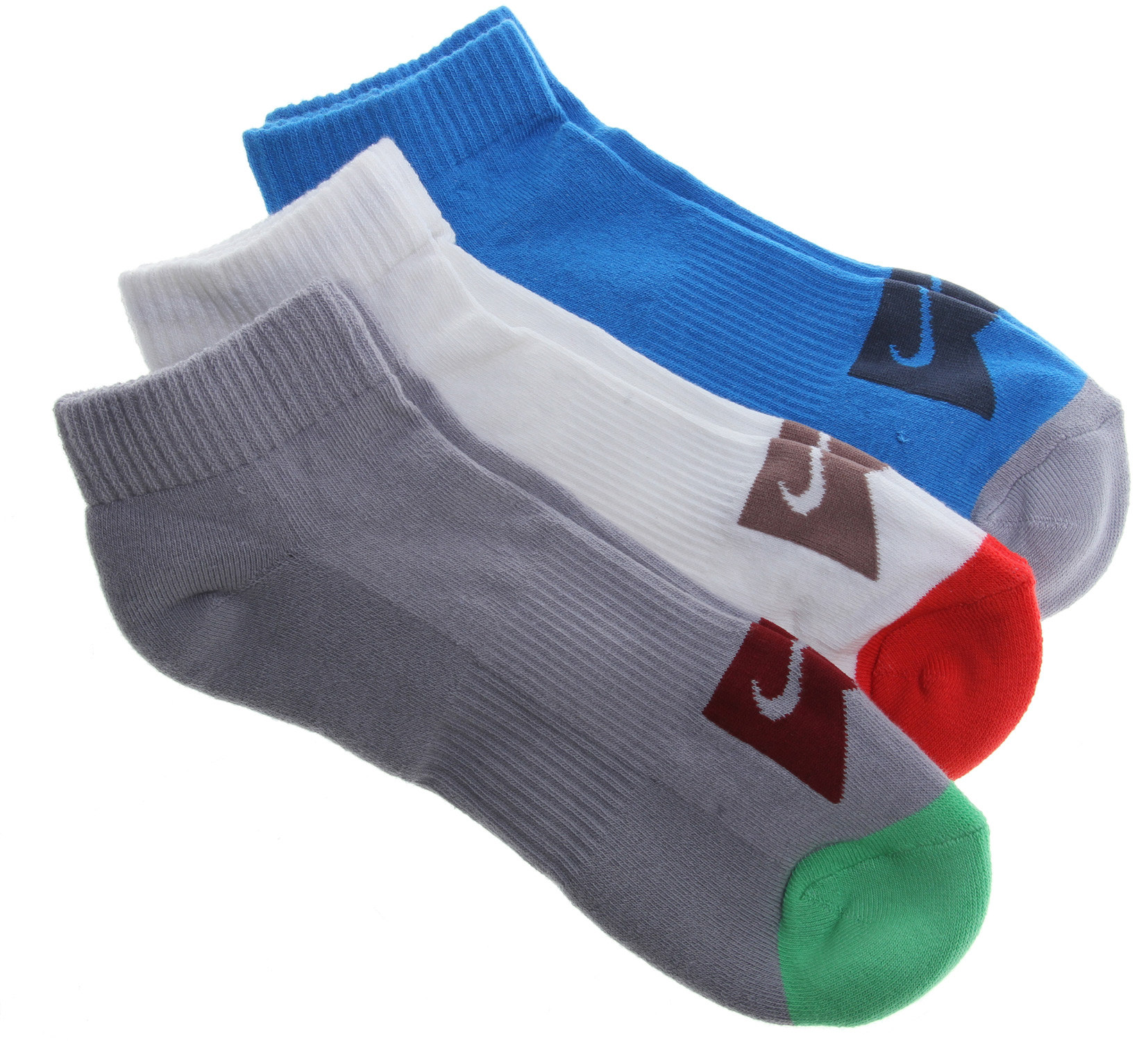 Skateboard Key Features of the Nike Skate Dri-Fit Ankle 3Pk Socks: Half-cushion terry foot Comfort and shock-absorption Dri-FIT fabric helps wick away moisture, keeps feet dry and cool Arch support for a snug, secure fit 57% cotton/30% polyester/11% nylon/2% spandex. - $14.95