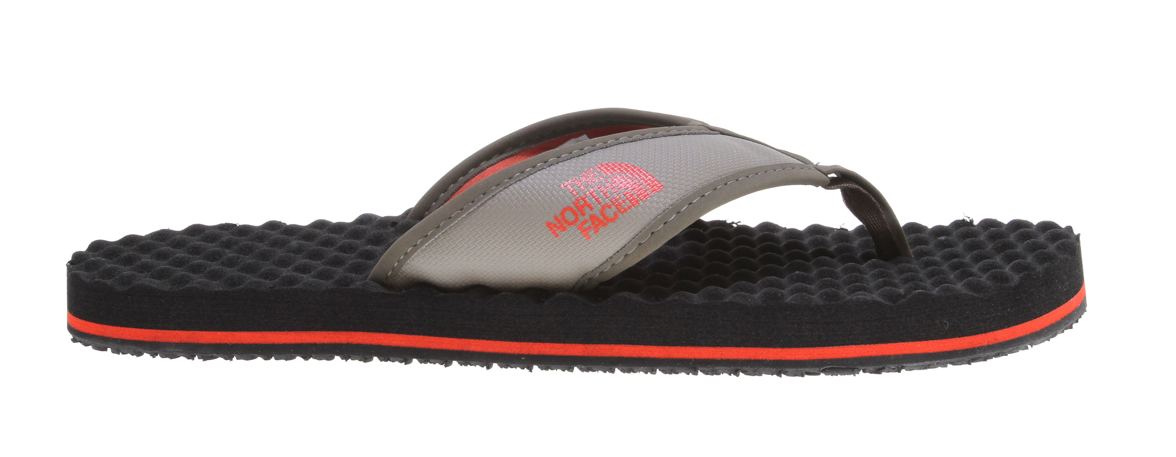 "Camp and Hike ""These are so comfortable you won't want to leave base camp!"" -Cedar Wright, The North Face Athlete, Rock Climber The Base Camp Flip-Flop is sure to outlast even your most rambunctious outings. Designed with the same material as our hyper-durable expedition equipment, the straps on these sandals offer relentless support. Coupled with an ultra-cushy egg crate-inspired footbed, if your feet could smile - they would.Key Features of the The North Face Base Camp Flip Flop Sandals: Inspired by our hyper-durable expedition bags, a lightweight-yet-rugged sandal fit for apres mountain or day-to-day wear and tear. PVC-free Hypalon strap with soft polyurethane (PU) binding and jersey lining Extra cushy EVA egg crate-inspired footbed with anatomical arch support Rubber outsole Imported - $20.95"
