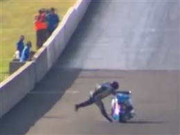 Auto and Cycle Motorcycle race Chris Matheson crash at 230mph.