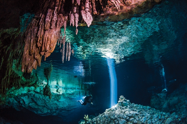 "Scuba TULUM CENOTES, MEXICO - ""We've got huge, massive tunnels you could fly a plane through,"" says Kim Davidson, manager of ProTec in Tulum, Mexico"