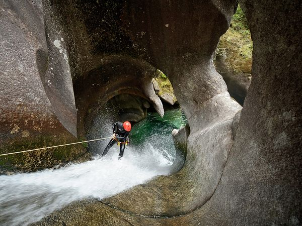 Climbing Picture of Damien Briguet canyoning in Monmouth Creek, Vancouver, British Columbia, Canada