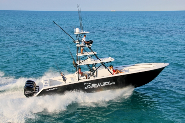 Fishing SeaHunter's New Tournament 45 - A smooth ride that will get you on the fish fast and economically.  Article by Newswire posted May 10, 2013