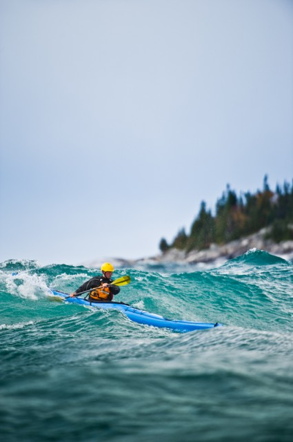 Kayak and Canoe Rough water storm paddling on Lake Superior in Ontario, Canada