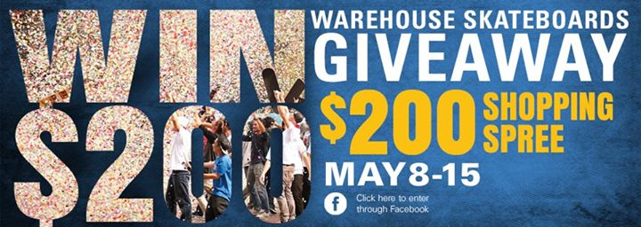 Skateboard You have ONE hour left to sign up for the chance to win a $200 shopping spree if you haven't already...who doesn't want free stuff?!?!