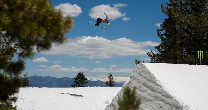 Surf TJ Schiller in the clouds at Mammoth Unbound for the Monster Energy training camp!