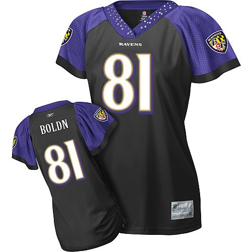 Entertainment Anquan Boldin Women's Field Flirt Black Baltimore Ravens #81 Replica Reebok NFL Jersey