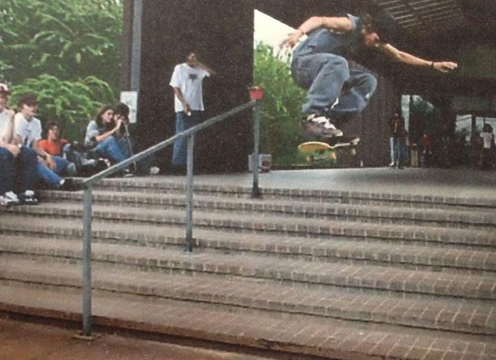 Skateboard Ambassador Nic Escamilla tells us a little about his background in street skating in the article below! Here's a photo of him winning a best trick contest with a heelflip down a long 7-stair. Stay tuned for more articles from Nic about his newfound passio