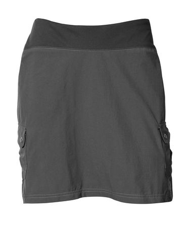 The KUHL Aktiv(TM) Skort provides the welcomed comfort KINETIK(TM) fabric as well as technical performance.  KINETIK(TM) fabric has the style of a structured woven and the performance of softshell technical fabric . With a durabel nylon body and a strechable knit elastic waistband. 5 inseam on shorts. 16.5 skirt center back length, above the knee. 2 cargo side pockets with snap closures. Hidden key pocket. - $59.00