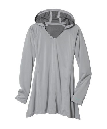 The KUHL Women's Java(TM) Long Sleeve Hoody features Coffeenna(TM) fabric for natural odor and  sun protection. Made from recycled coffee grounds, Coffeenna(TM) performance fabric is woven in a stretchy knit.  With a long sleeved hooded tunic great for sun protection. Coffeenna(TM) fabric provides a UPF 50 rating! Uneven hemline for added style. Flattering French seam. - $29.50