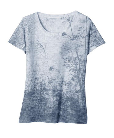 The KUHL Women's Solstice(TM) Tee features a unique, nature inspired, sublimation print. Burnout artwork process. Slight scoop neck. Made in USA ! - $22.50