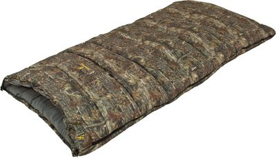 "Camp and Hike Built by Alps Mountaineering, the no-nonsense nature of the Browning Shadow Ridge Camo Sleeping Bag delivers outdoor sleeping comfort down to 20F. Sandwiched inside the two-layer construction, the 58-oz. TechLoft+ insulation traps your body heat for a warm nights sleep. The rugged 210T polyester shell provides durability. The soft microfiber lining with Buckmark embossing feels as cozy as your sheets at home. Includes stuff sack. Imported. Fill Weight: 58oz.. Temp Rating: 20&degF to 39&degF. Insulation: TechLoft+. Dimensions: 34"" x 80"". Temperature Rating: +20 F. +20 Degree Camo Bag. - $59.88"