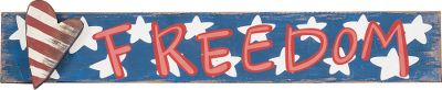 Whether its Memorial Day, Fourth of July or just pride in our nation, the Painted Wood Americana Signs make a patriotic addition to any home. Made of wood composite for a distressed look.Dimensions: 24L x 4H x 3/4D.Available:America, Freedom, Liberty. - $6.88
