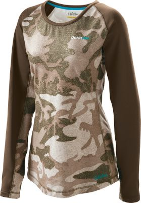 Hunting When you go hunting, you need a top that can meet every challenge. Thats why our OufitHer Active Long-Sleeve Shirt is crafted with fleecy softness, comfortable stretch and performance technology. The fabric is an anti-pilling 94/6 polyester/spandex blend that beats the chill, and it delivers a nonrestrictive and comfortable give. An advanced finish delivers superior moisture management for a dry feeling and extra warmth retention. Machine washable. Imported. Center back length for Med: 28.5. Sizes: S-2XL. Camo patterns: Cabelas Outfitter Camo, Realtree XTRA. Size: XL. Color: Realtree Xtra. Gender: Female. Age Group: Adult. Pattern: Camo. Material: Polyester. Type: Long-Sleeve Shirts. - $17.99