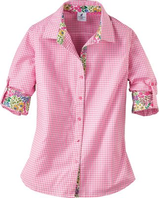 Roll up your sleeves when the temperature rises. Caribbean Joes Womens Gingham Poplin Shirt is crafted of 100% cotton with a poplin weave. Button-secure Swiss tabs secure sleeves when rolled up. Imported. Center back length: 25-3/4. Sizes: S-XL. Colors: Bashful Green, Pink Pulse, Cloudless Pink Polka Dot, Caribe Green Gingham, Grenadine Orange Polka Dot, Deep Sea Gingham. Size: S. Color: Deep Sea Gingham. Gender: Female. Age Group: Adult. Pattern: Gingham. Material: Poplin. - $6.60