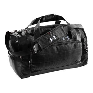 "Entertainment UA Storm gear uses a DWR finish to repel water without sacrificing breathability.  Adjustable, padded shoulder strap with HeatGearA(R) for total comfort.  2 large vented end pockets, 1 expandable for laundry and shoes.  Dimensions: 21"" x 11"" x 10"".  Cubic Volume: 2900.  600D Polyester With Abrasion-Resistant Bottom.  Imported. - $51.99"
