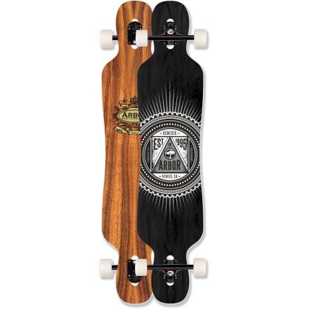 Skateboard The Arbor Genesis 44 longboard is a drop-through performance carver built for smooth, stable and fast rides. Symmetrical snowboard-inspired waist and camber give you snappy rail-to-rail performance. Drop-through truck mounting gets you lower to the ground to power through turns and slides. Built with 5 wood plies and 2 fiberglass plies and a topsheet of koa veneer for lightweight, durable performance. Deck is gripped with long-lasting crushed recycled glass; this ultra-clear, high-performance surface allows the deck's natural grain and color to remain highly visible. 72mm, 78a durometer wheels provide excellent carve, downhill, slide and urban commute performance; they help manage speed, drifting and high-powered turning. Offset vented hubs provide light, cool performance; a wide contact patch increases traction and sharp, flexible inner and outer lips allow wheels to conform to the road. Arbor Genesis 44 includes ABEC 5 bearings and Paris 180mm trucks. Arbor skates are made with a water-based sanding sealer and finish coat. All wood by-product created during production is reclaimed for use in other Arbor products or by outside companies. Please note: wheel colors may vary from photo. - $269.95