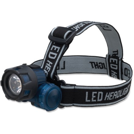 Camp and Hike The compact and lightweight Outbound Backpacker LED headlamp gives a wide angle of light with a range of 30 meters (98 ft.) and is great for backpacking or keeping at the ready in your emergency kit. Headlamp's ratcheting head aims the bright LED light where you need it. Adjustable elastic band fits securely around your head. Runs 120 hours on 3 AAA batteries (included). Closeout. - $19.73