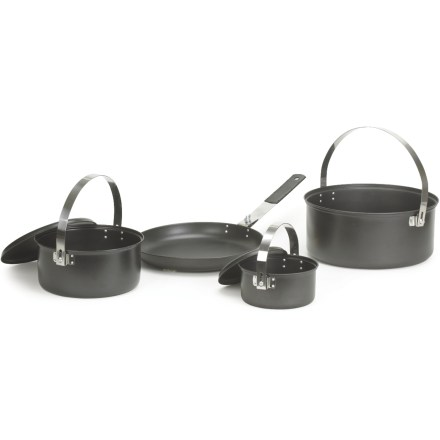 Camp and Hike Featuring a non-stick coating that makes post-meal clean-up a breeze, the Stansport Black Granite Family cookset includes 2 kettles, a pot and a fry pan for dependable and durable camp cooking. Cook set includes a 6 qt. kettle, 2.5 qt. kettle with lid, 1 qt. pot with lid, 10 in. fry pan and a mesh carry bag. Rugged steel construction features a durable non-stick finish for easy cooking and cleaning; wash by hand in mild soapy water; avoid metal brushes. Non-stick finish withstands cooking temperatures up to 300 degrees. Closeout. - $59.73