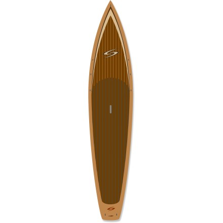 Kayak and Canoe As suited for display as it is for playing in the water, the Surftech Flowmaster Wood 12 ft. 6 in. stand up paddleboard offers incomparable beauty without sacrificing its foundation in functionality. Made for speed and efficiency, the Flowmaster series is specifically designed with clean lines and lightweight construction for athletes driving towards the finish line. Impeccably crafted board created through a seamless construction process results in beautiful, durable board with a wood veneer finish that will last through years of use. At the heart of this board is a waterproof, fused-cell EPS core that's wrapped in fiberglass and laminated with high-quality epoxy resin. Subsequent layers of fiberglass and wood veneer plus exterior lamination create the durable and lightweight features of this board that pays homage to its roots. 12 ft. 6 in. length offers stability and a smooth ride through surf and on long flatwater tours. 275 lb. load capacity makes the Flowmaster Wood great for bigger paddlers and provides a stable, comfortable ride for smaller or beginner paddlers. Narrow, high-volume nose cuts through chop; narrow pintail is thinned down to provide tight, easy, flowing turns. Single fin promotes straight tracking for easy forward motion. Recessed carry handle makes toting the 35 lb. Flowmaster Wood 12 ft. 6. in stand up paddleboard quick and easy. - $1,482.93