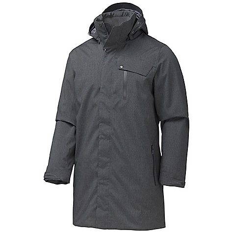 Free Shipping. Marmot Men's Uptown Jacket DECENT FEATURES of the Marmot Men's Uptown Jacket Marmot MemBrain Waterproof/Breathable Fabric 100% Seam Taped Thermal R Eco Insulation Zipoff Storm Hood with Laminated Brim Hand Pockets with Water Resistant Zipper Chest Pocket with Water Resistant Zip Internal Zippered Media Pocket Internal Welted Pocket Rib Knit Collar Adjustable Velcro Cuffs Elastic Draw Cord Hem The SPECS Weight: 2 lbs 8.1 oz / 1136.8 g Center Back Length: 36in. MemBrain 10 2L 100% Polyester Melange Ripstop 5.9 oz/yd - $294.95