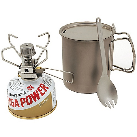 On Sale. Free Shipping. Snow Peak Starter Kit The SPECS Weight: Pot: 4.8 oz, Spork: 0.6 oz, Stove: 3.75 oz Pot Capacity: 24 fl oz Pot / Spork: Titanium Stove: Stainless steel Aluminum and brass - $71.96