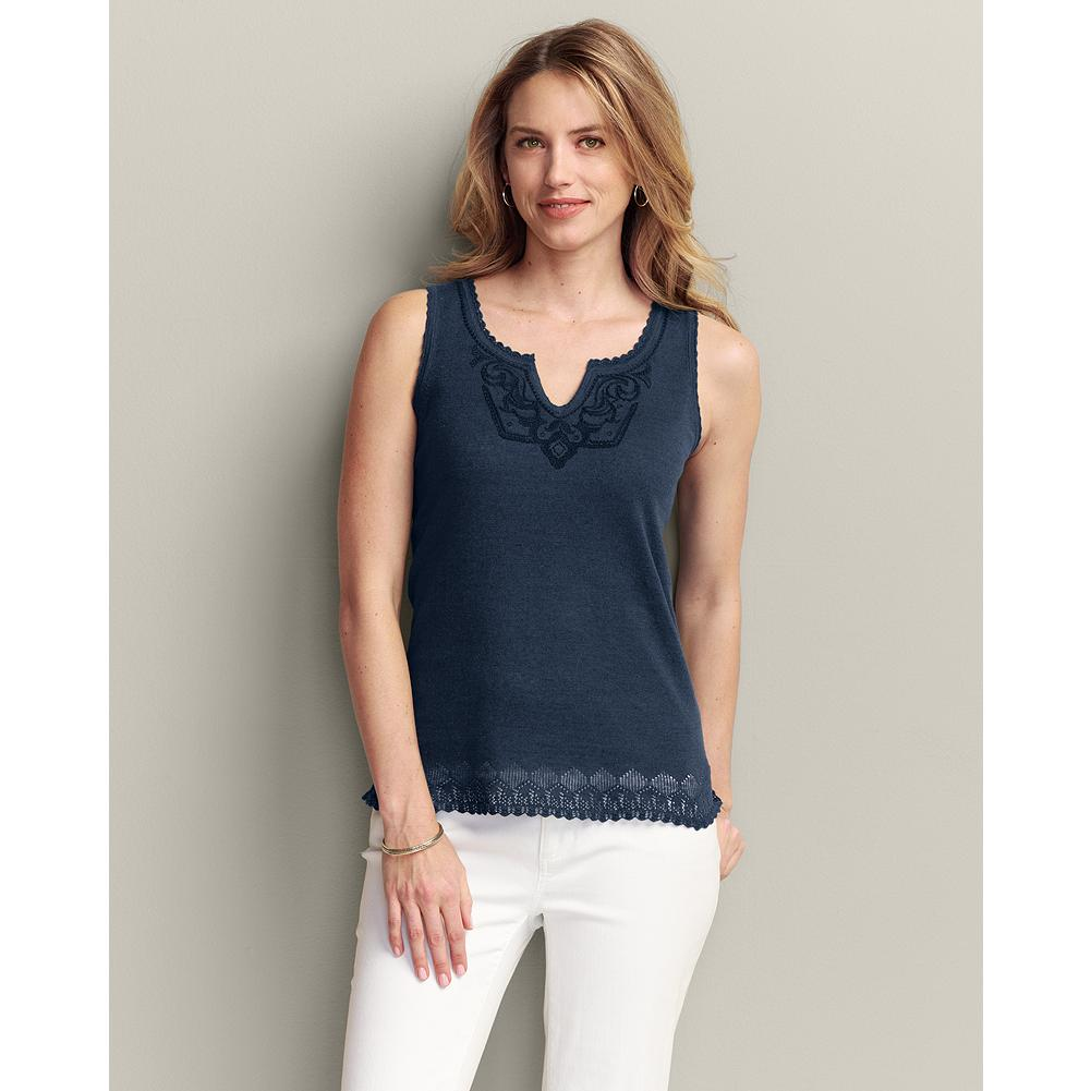 Eddie Bauer Embroidered Shell - Lightweight linen/cotton blend makes our shell comfortable, even on the hottest days. Embroidered notch neckline and pointelle stitching at the hem let you dress it up to wear with summer suits, but it looks just as good over jeans or capris. - $14.99