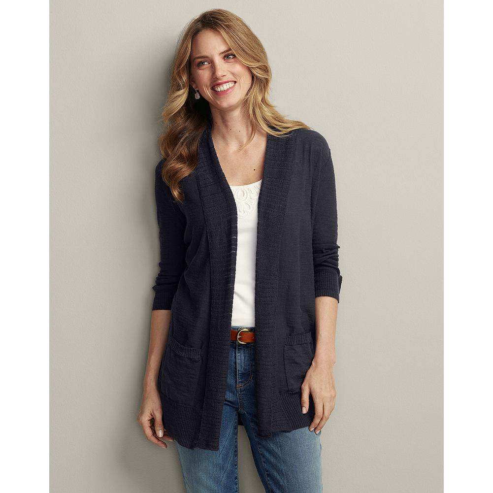Eddie Bauer Slub-Texture Open Drape Cardigan - The open-stitch construction of our cardigan makes it light and airy-ideal for cross-seasonal layering. The casual style does not fasten, accentuating its natural drape. Rib-knit details highlight the shawl collar, front opening, cuffs, and hem. - $24.99
