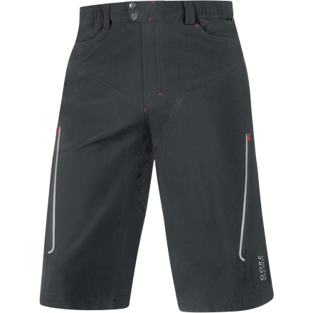 MTB Gore Bike Wear's Alp-X Shorts combine a mountain bike-oriented cut with no-nonsense degree of styling. And with a removable liner and a WindStopper membrane, you'll find them ready for anything that Mother Nature has to offer. Gore used a proprietary blend of nylon and elastane for the construction of the Alp-X Shorts. This material was chosen for its mixture of breathability and controlled stretch. By transporting moisture from the skin to the surface of the fabric, the Alp-X shorts take advantage of evaporative cooling in order keep you dry and comfortable. In case you're not familiar with 'evaporative cooling,' as your sweat is transported to the surface of the fabric, it turns to vapor, which causes the temperature of the air next to your skin to drop. In turn, the process keeps both the shorts and your skin cool and dry. A highly breathable and 100% windproof Gore WindStopper membrane has also been incorporated in order to provide extra protection from gusts of wind and spray from your tires. And the areas that contact your saddle, like the inner-thighs and seat panel, have also been strengthened with wear-resistant fabrics. The Alp-X shorts use elastic in the waistband to conform to your midsection without binding, even as you readjust your position in the saddle. Gore employs flatlock stitching throughout to eliminate chafing and to keep the shorts sliding smoothly over the included liner. And when you work up a sweat, you're able to dump heat on-the-fly with two adjustable, zippered mesh vents on the thighs. Gore also included reflective accents on the shorts to increase your visibility to motorists in low-light situations. The aforementioned liner snaps into the shorts and features Gore's Alp-X chamois. This insert is seamless and breathable in order to keep you dry and to minimize irritation. Its contoured shape and built-in stretch also add to this heightened level of comfort. - $119.96