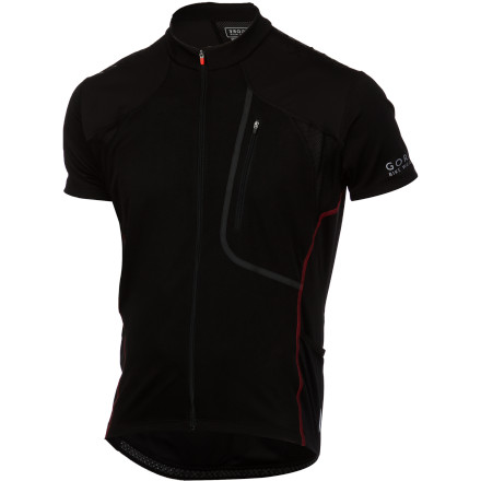 Fitness Gore Bike Wear created the Alp-X 3.0 Jersey for the mountain biker who needs it all. With thoughtful features and plenty of storage options, you'll have everything that you need to make your next ride a memorable one. For the construction of the Alp-X 3.0, Gore incorporated its proprietary polyester microfiber fabric. Why' Well, because of its ability to efficiently wick sweat away from the skin. By transporting moisture from the skin to the surface of the fabric, the Alp-X 3.0 keeps the rider dry and comfortable. And once moisture is moved to the surface, the fiber orientation of the Alp-X 3.0's fabric takes advantage of evaporative cooling in order to provide consistent thermo-regulation. To aid this cooling characteristic, Gore also added mesh panels at the arms, back, and scapula of the jersey in order to provide an increased airflow through the jersey. And if you're anything like us, you'll find this especially useful when you're wearing a hydration pack. A contoured cut compliments the clean styling of the jersey, and stretchy fabric keeps you moving freely, even during your wildest moments on the trail. Gore used flatlock stitching throughout, which eliminates the risk of seam-related chafing. Additionally, Gore placed a full-length semi-lock zipper at the front of the jersey that lets you dump heat quickly. This zipper leads up to a close-fitting collar that rests against your neck instead of flapping in the breeze. For holding your riding essentials, the Alp-X has three rear pockets, and the outside pockets are slanted for easy access while in the saddle. There's also a zippered security pocket for holding the items that you can't afford to lose. Additionally, Gore placed silicone grippers on the shoulders, which further resist abrasion and aid in keeping your hydration pack in place. - $87.96