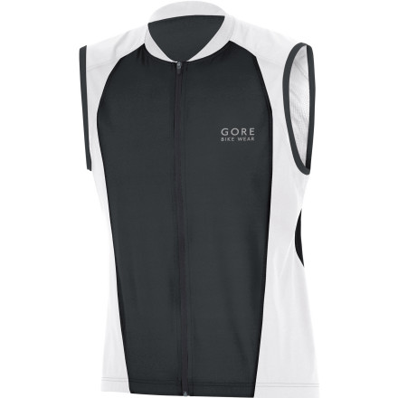Fitness When summer's oppressive heat sets in, yet the need to ride remains, Gore Bike Wear Power II Singlet comes into its own. This jersey will keep you comfortable under a sweltering sun. For its construction, Gore selected a proprietary blend of spandex and nylon. Why' Because of its ability to wick moisture away from the skin and provide a controlled stretch. By pulling sweat away from the skin and taking advantage of the fibers' increased surface area, this jersey uses evaporative cooling in order to maintain a low core temperature. This idea of thermoregulation is furthered by the fabric's ability to both breathe effectively and allow an ample level of airflow. Extending this idea even further, Gore has also incorporated mesh panels along the underarms and scapula of the jersey. Flat lock seams are employed throughout in order to reduce chafing, while a full-length, semi-lock front zipper provides an extra ventilation option when you need to dump heat in a hurry. For storage of your ride essentials, Gore has included three rear pockets. And to increase their accessibility from the saddle, the outside pockets Gore has given them a slanted design. An elongated rear hem works in conjunction with an elastic gripper to secure the fit of the jersey when the pockets are fully loaded. Additionally, the secure grip prevents any fabric bunching at the stomach while you're in the cycling position. Gore has also placed reflective accents throughout the jersey in order to increase your visibility to motorists in low light conditions. The Gore Bike Wear Power II Singlet is available in five sizes from Small to XX-Large and in the colors Black/white, Kiwi/white, Splash Blue/white, Red/white, and White/black. - $63.96