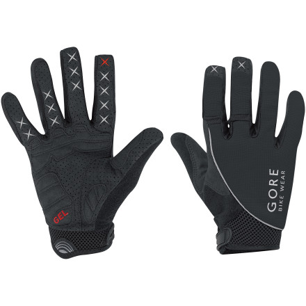MTB The Gore Bike Wear Alp-X 2.0 Long Glove protects your hand from cold weather at the same time that it's protecting it from shock, vibration, and impact. This is great news for those of you who don't plan to put the bike away this year. Sure, it's a little more painful to ride in the winter, but you'll have the trails all to yourself.Gore started with a stretchy blend of nylon and elastane that can handle huge amounts of abuse and won't limit your range of motion. This breathable outer fabric allows water vapor to escape so your hand stays dry and comfortable, even during intense climbs. The palm is durable nylon and polyurethane that provides excellent grip so you won't slip off the bars or lose touch with your brake levers at a crucial moment. Gore even supplied a cotton/poly sweat wipe so you could stem the sweat attack before it gets to your glasses.With the weather taken care of, Gore turned its attention to fatigue-inducing vibration and the inevitable unplanned impact. Along the heel of the palm is a low-profile gel pad to add comfort without negatively affecting grip. The rest of the palm is padded with a low-profile foam padding that reduces fatigue without affecting the Long Glove's phenomenal level of dexterity. Adding to that dexterity are silicone gripers on the index and forefingers. A soft wipe is placed along the thumb panel to keep things tidy as you push through inclement weather. The elastic wrist cuff is nice and wide to lock out the elements without cutting off circulation, and it's adjustable via a hook-and-loop closure. The Gore Bike Wear ALP-X SO Glove has reflective logos for added low-light safety. It's available in sizes Small through XXX-Large and in Black, Red/black, and White/black. - $44.76