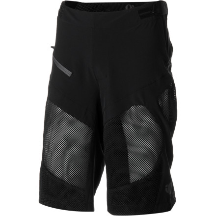 Fitness Pearl Izumi's Veer Shorts were designed to give you the ultimate in all-day comfort and riding support. As Izumi's top-end trail shorts, the Veer incorporates an anatomic paneling design, Pearl Izumi's most advanced materials, and a chamois-equipped removable bib liner. This level of versatility results in you being covered for almost any riding situation imaginable. The top block of the shorts received Pearl Izumi's Transfer Stretch fabric. This lightweight, breathable material provides exceptional moisture transfer and moves with you as you ride. Its built-in stretch works to eliminate bunching around your upper-thighs, which means less friction and more comfort throughout your riding sessions. Transfer Stretch is also very durable and abrasion-resistant, meaning that you'll be reaching for the Veer shorts for more than a few seasons. Direct-Vent paneling was added below the Transfer Stretch in order to provide you with further ventilation and to keep your legs cool and dry. And while many trail shorts use a baggy fit to combat restricting effects of pedaling motions, Pearl Izumi smartly targeted these high friction zones using its blend of Transfer Stretch and Direct-Vent paneling. This design allowed it to build a pair of shorts that eliminate skin-irritation and friction, while maintaining a semi-fitted construction. The result is a pair of shorts with a 13-inch inseam (size Medium) that fall in that middle ground of looseness -- slightly more tapered than all-mountain baggies, but still providing ample leg openings for freedom of movement. Pearl Izumi's Mountain Series 3D chamois was incorporated into the shorts' detachable bib liner. This four-way stretch insert is pre-shaped, and it blends two layers of variable-density padding in order to provide you with maximum support. The chamois also uses Pearl Izumi's Pressure Relief Technology (PRT), which optimizes blood flow and increases overall riding comfort. - $169.95