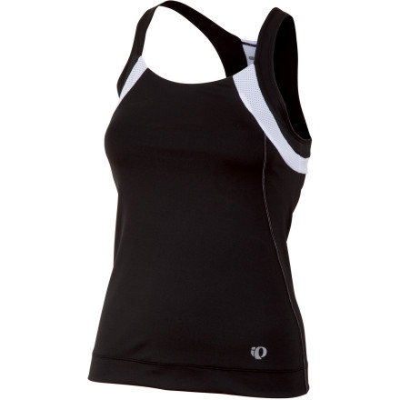 Fitness Designed to keep you comfortable in 80-95 degree temperatures, the Pearl Izumi Women's Symphony Tank Top employs some of the manufacturer's most advanced hot-weather technologies, but still stays well within the budget limitations of the average rider.Pearl Izumi built the Symphony Tank Top with Elite Transfer fabric. This polyester blend effectively pulls perspiration away from your skin, while still allowing ample breathability and moisture evaporation at the surface. Essentially, this ensures that the tank top dries quickly during your ride to keep you comfortable. For storage of your race nutrition, Pearl Izumi included three rear pockets. Pearl Izumi also used In-R-Cool in the construction of the Symphony. This built-in feature is based on technology that reflects the sun's rays to reduce the surface temperature of the fabric by up to 35 degrees Fahrenheit in direct sunlight, so you can be wearing an entirely black kit and feel like you're in tennis whites. The Pearl Izumi Women's Symphony Tank Top is available in six sizes from Small to XX-Large and in the colors Lime, Black, Paradise Pink, Orchid, and Scuba Blue. - $74.95